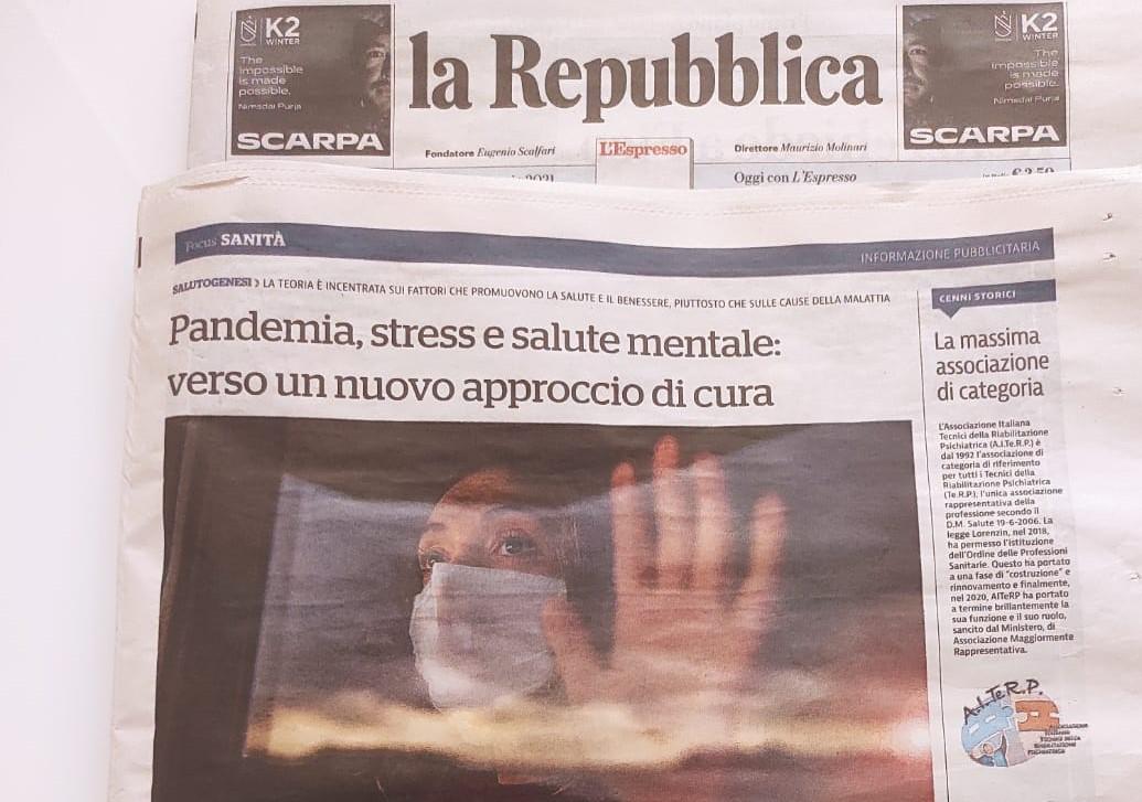 """La Repubblica – Focus Sanità e Salute """"Aiterp, pandemia, stress e salute mentale: verso un nuovo approccio di cura"""""""